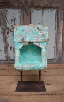 19th Century Sandstone Shrine Niche with faded aqua paint <b>SOLD<b>